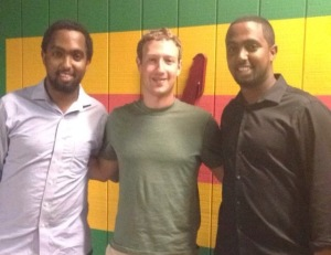 Mark Zuckerberg poses for a photo with Walia restaurant staff in San Jose, California. (Courtesy photo)